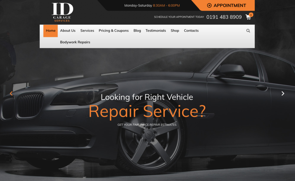 Garage Repairs Website template